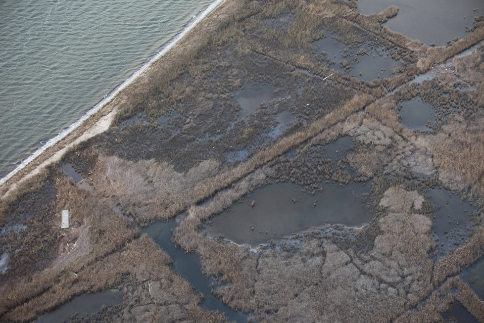 Aerial photo of debris in marsh at Seatuck National Wildlife Refuge (NY)