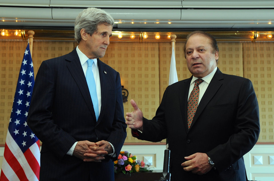 Pakistani Prime Minister Sharif Addresses Reporters Before Meeting With U.S. Secretary of State John Kerry at The Hague