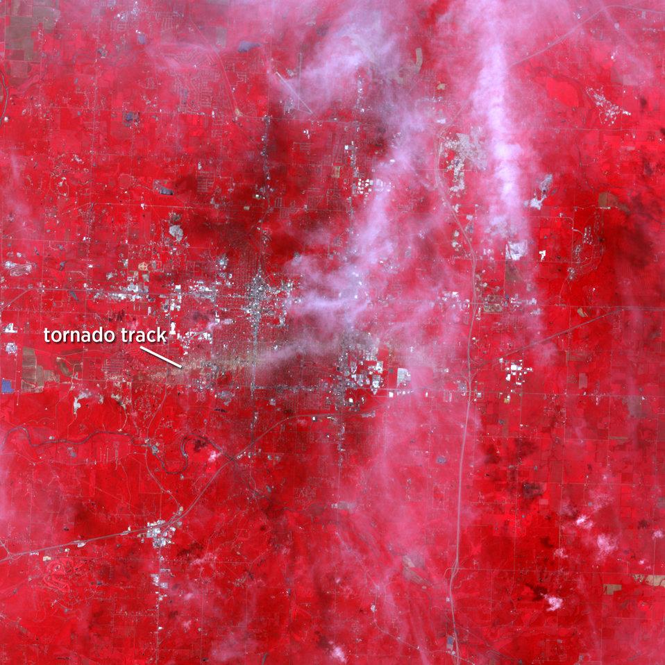 Satellite image of Joplin tornado