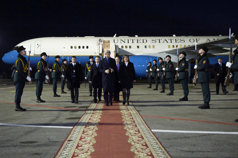 Moldovan Deputy Prime Minister Gherman Escorts Secretary Kerry Upon His Arrival to Moldova
