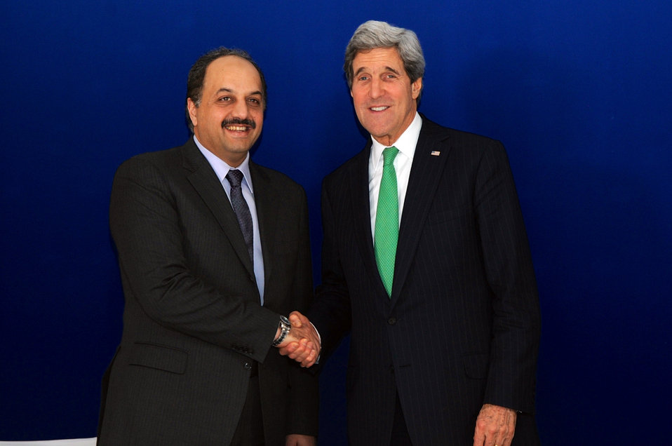 Secretary Kerry Shakes Hands With Qatari Foreign Minister al-Attiyah at Munich Security Conference