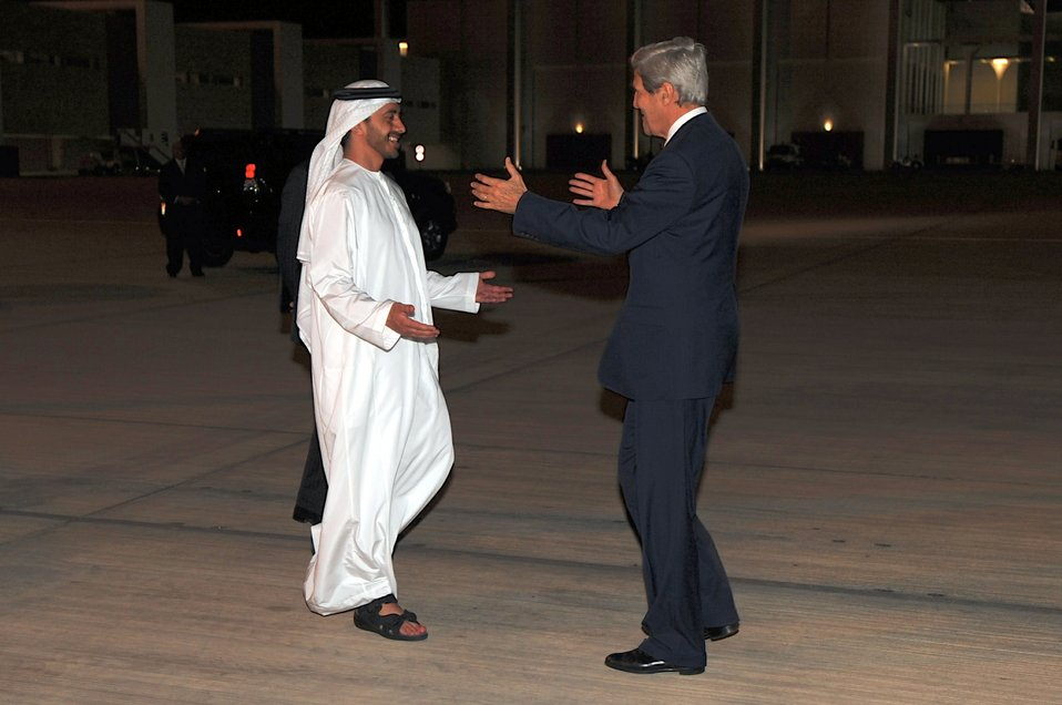Secretary Kerry is Greeted by UAE Minister of Foreign Affairs Abdullah bin Zayed Al Nayhan