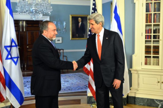 Secretary Kerry Shakes Hands With Israeli Foreign Minister Lieberman