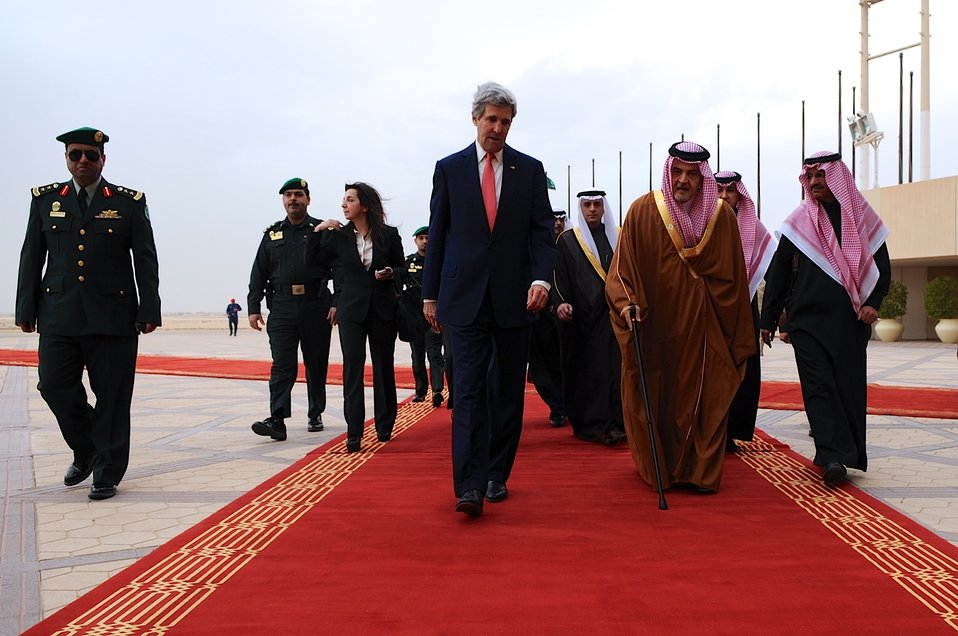 Secretary Kerry Walks With Saudi Foreign Minister al-Faisal in Riyadh
