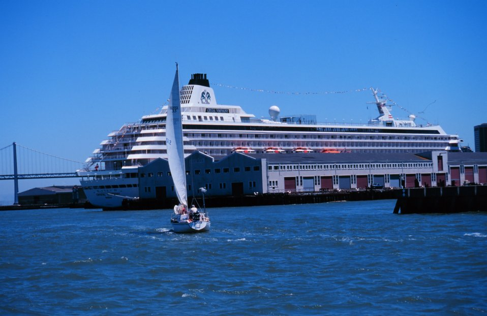 A cruise ship tied up on the San Francisco waterfront.