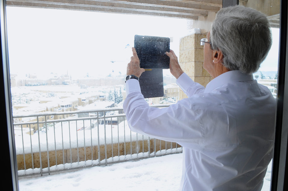 Secretary Kerry Photographs Rare Snow on Jerusalem's Old City