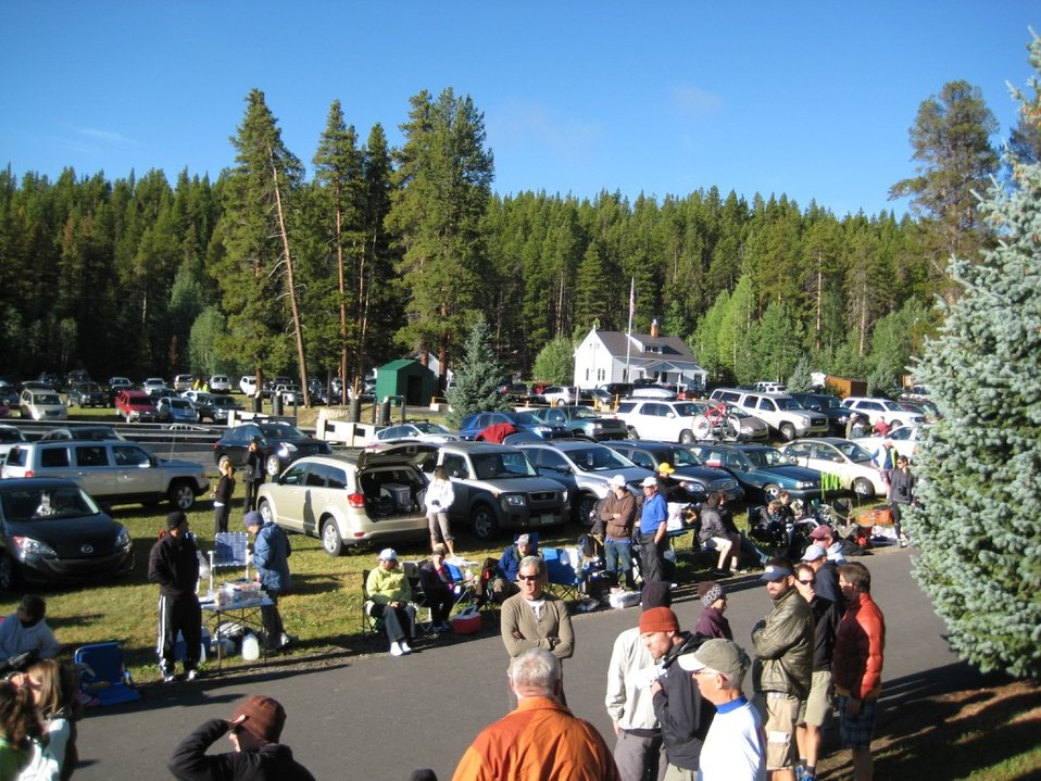 Leadville National Fish Hatchery Filled with Cars and People