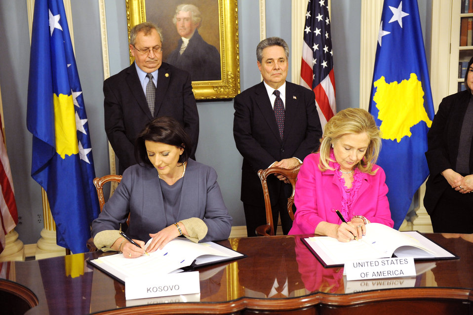 Secretary Clinton and President of Kosovo Jahjaga Sign U.S.-Kosovo Agreement on Protection, Preservation of Certain Cultural Properties