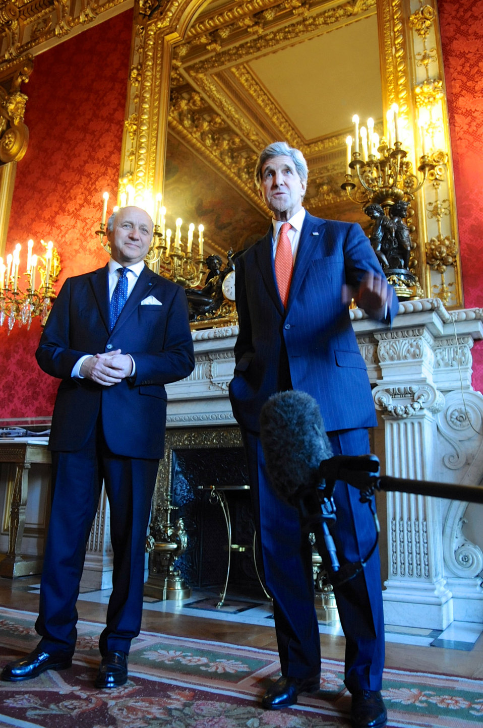 Secretary Kerry Speaks Before a Meeting With French Foreign Minister Fabius in Paris
