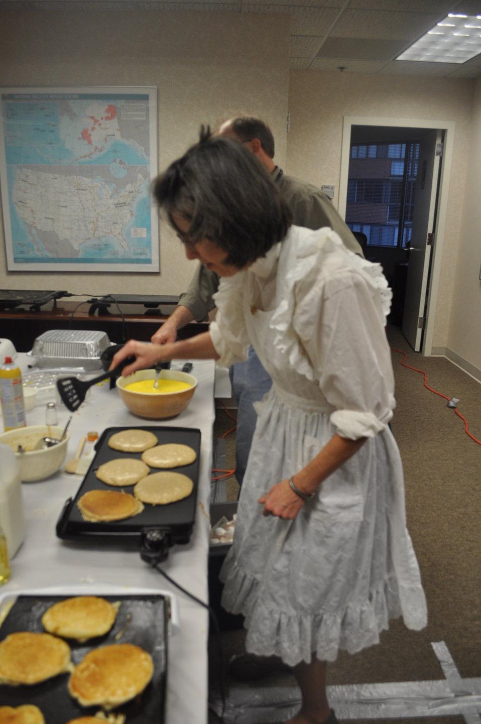 Nancy Roeper cooks pancakes
