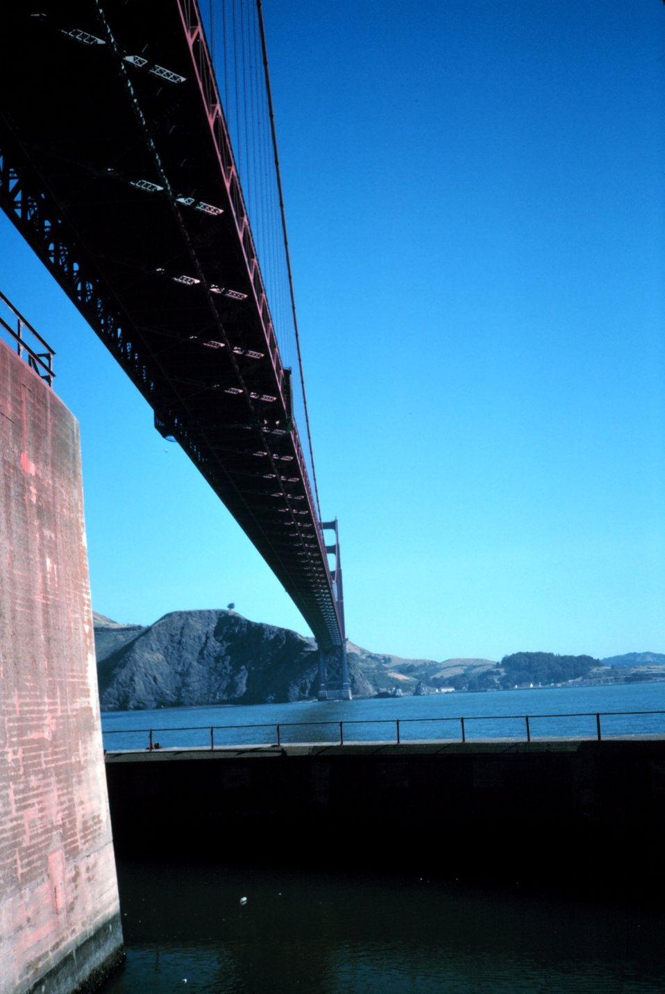 The Golden Gate Bridge as seen from the bridge's south pier looking north.