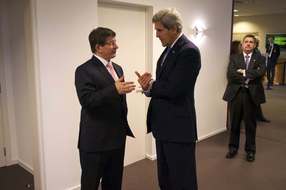 Secretary Kerry Chats With Turkish Foreign Minister Davutoglu