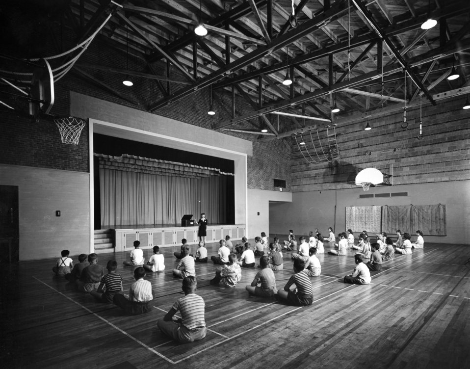 Interior View of Oak Ridge School GYM Class 1944