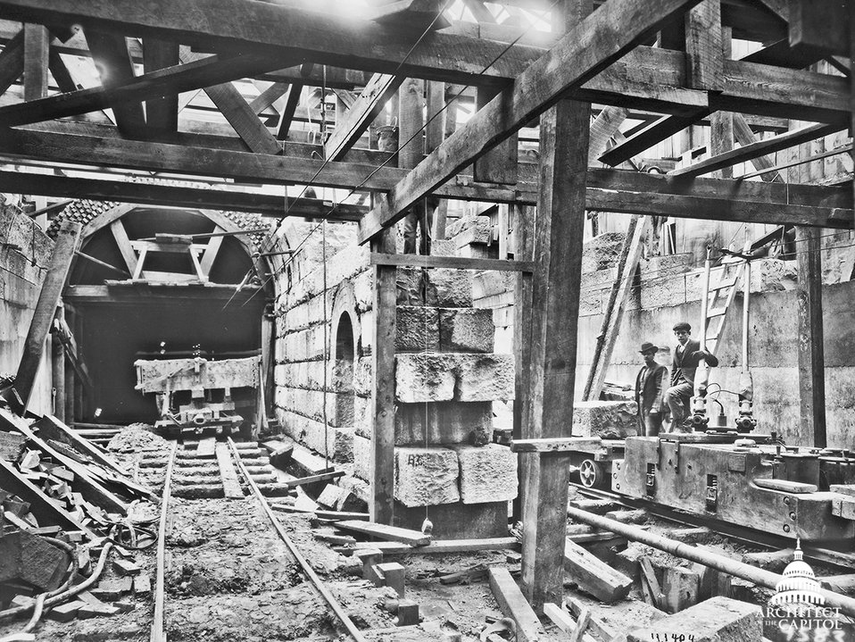 Construction of tunnel to Capitol during construction of Cannon House Office Building