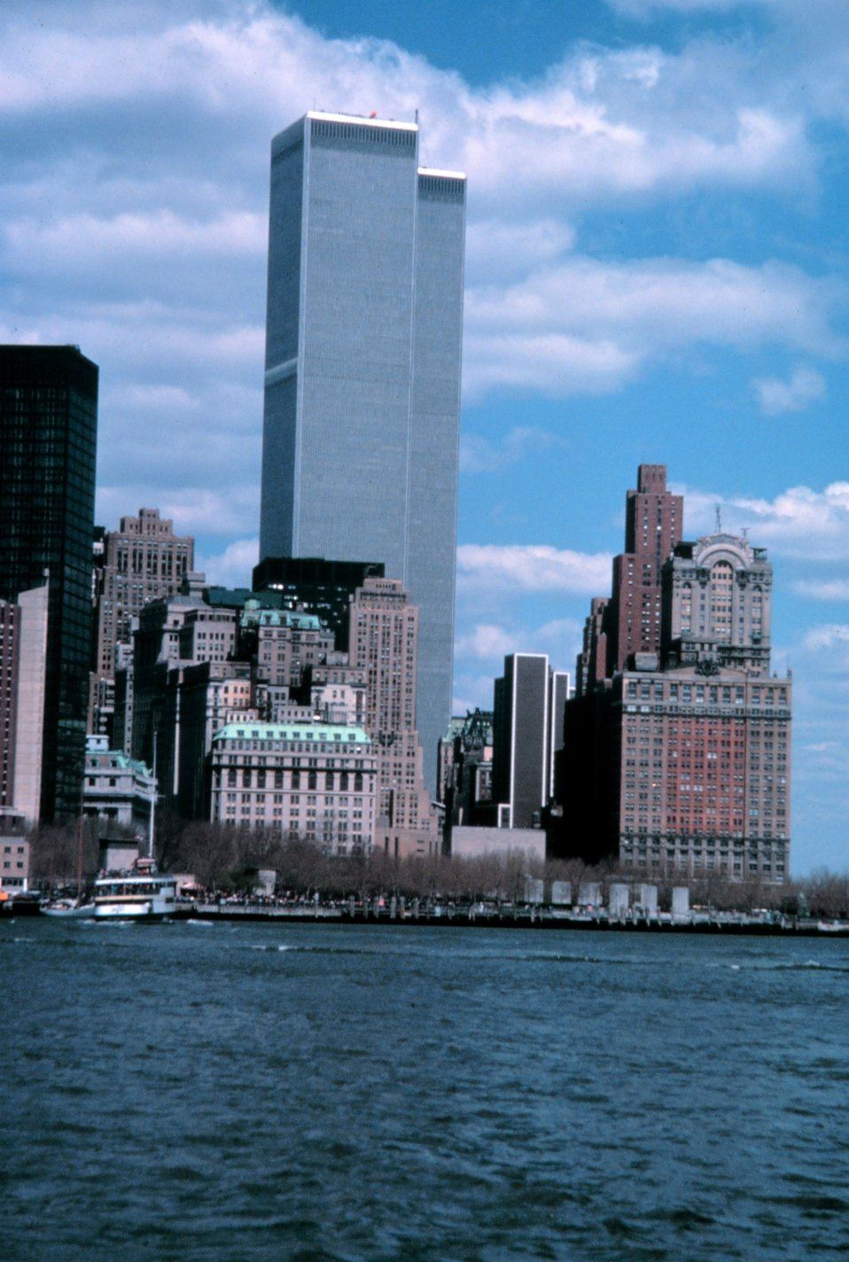 The World Trade Center as seen from the Governor's Island Ferry.