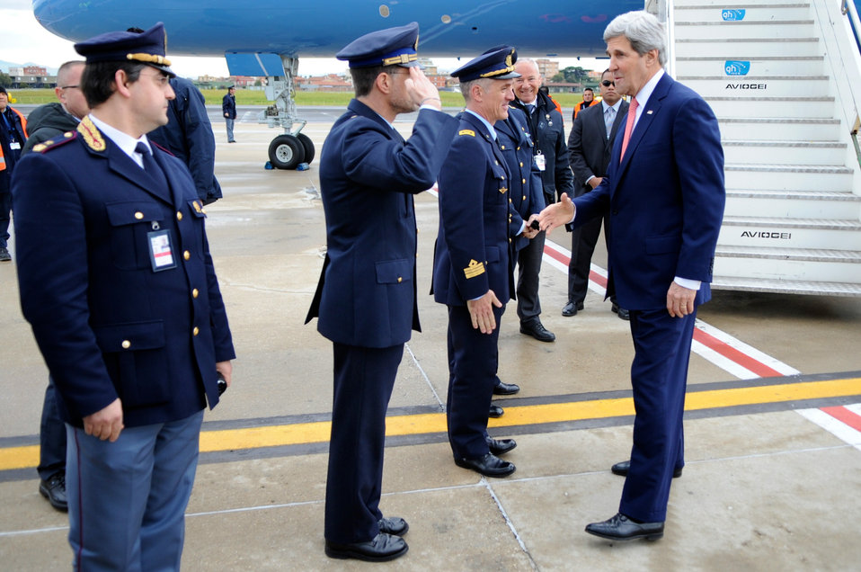 Military Officers Welcome Secretary Kerry Back to Rome