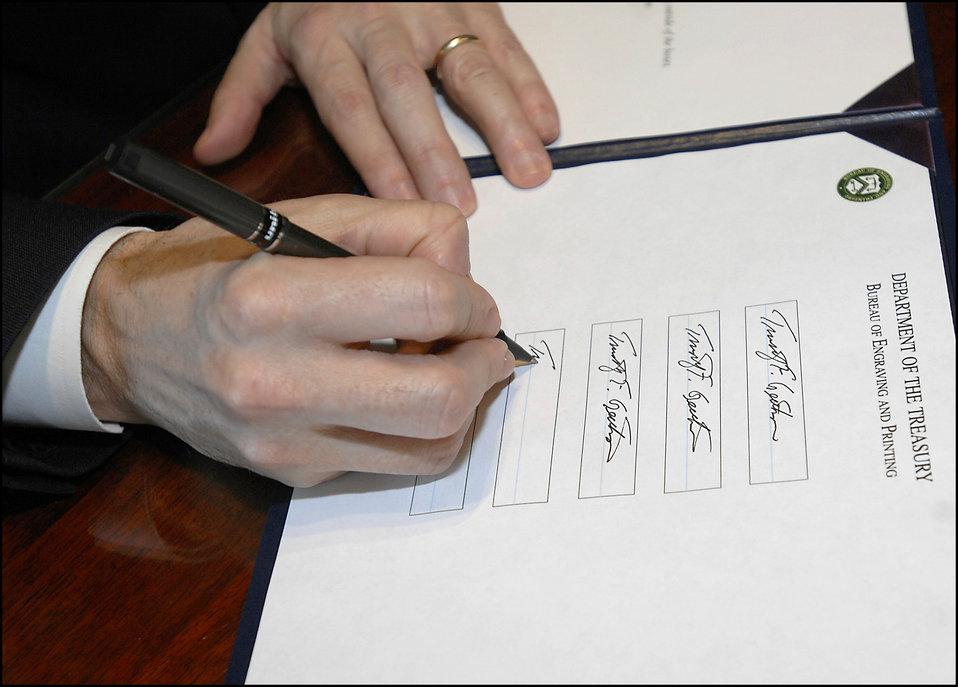 Geithner Signing