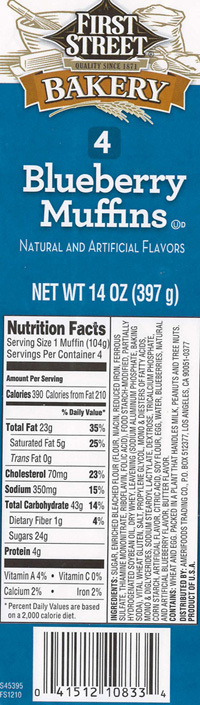 RECALLED – Blueberry Muffin 14oz and Blueberry Loaf Cake 16oz.