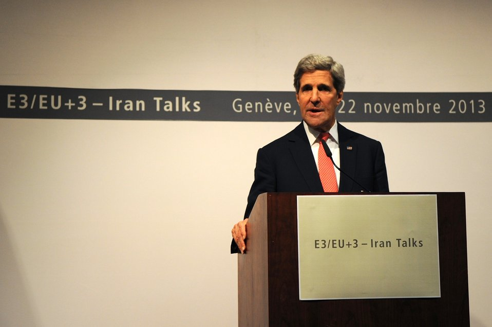 Secretary Kerry Speaks to the Media in Geneva, Switzerland