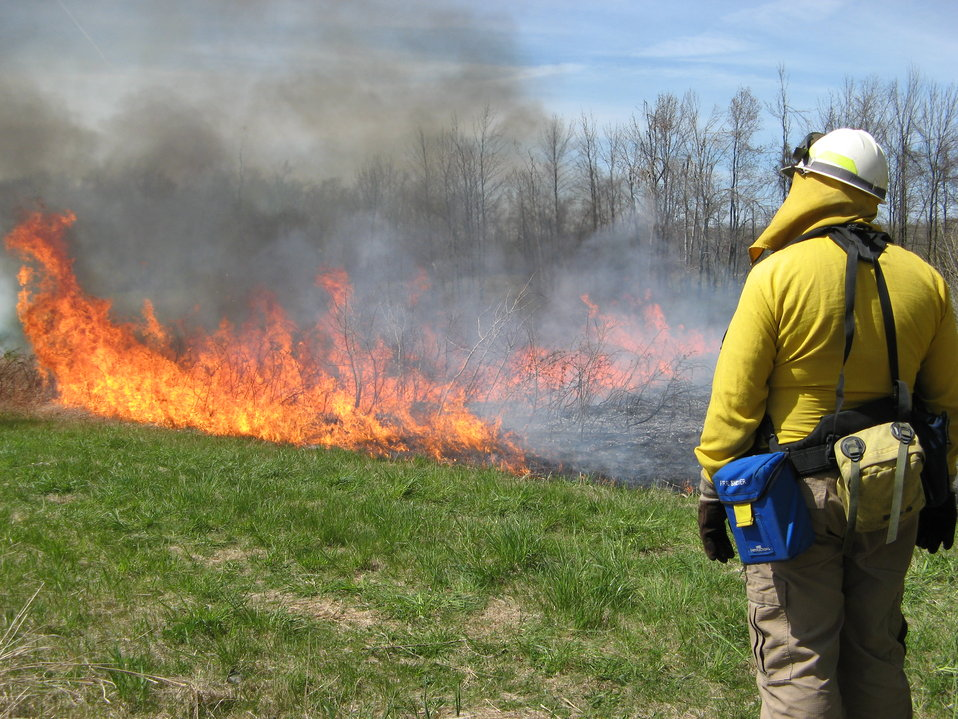 Photo of the Week - Fire management officer during a controlled fire at Iroquois National Wildlife Refuge, NY