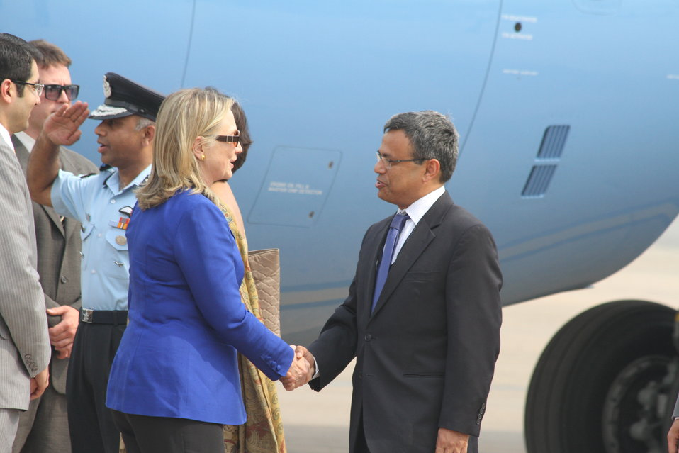 Secretary Clinton Is Greeted By Indian Joint Secretary Americans Ashraf