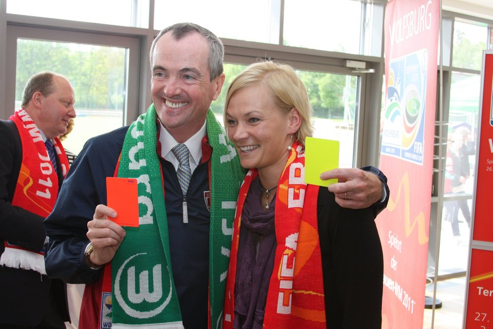 Ambassador Murphy Poses with World Cup-Final Referee Steinhaus