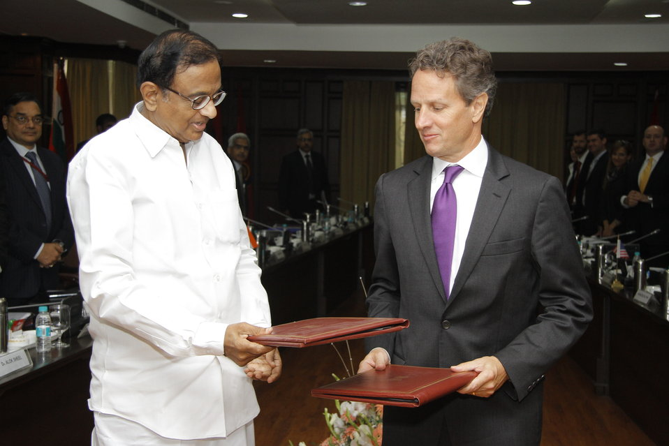 Secretary Geithner with Indian Finance Minister Chidambaram