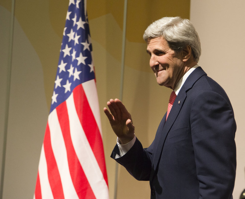 Secretary Kerry Speaks to the Media in Geneva, Switzerland