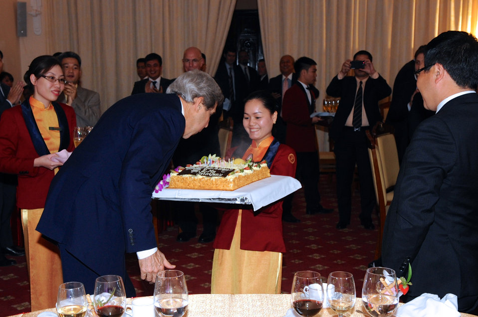 Secretary Kerry Receives a Surprise Birthday Cake in Vietnam