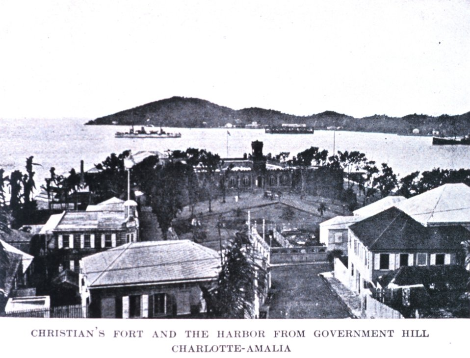 'Christian's Fort and the Harbor from Government Hill, St. Thomas.'  In: 'The Virgin Islands Our New Possessions and the British Islands', by Theodoor De Booy and John T. Faris, 1918.  J. B. Lippincott and Company, Philadelphia.  P. 30.  Library Cal