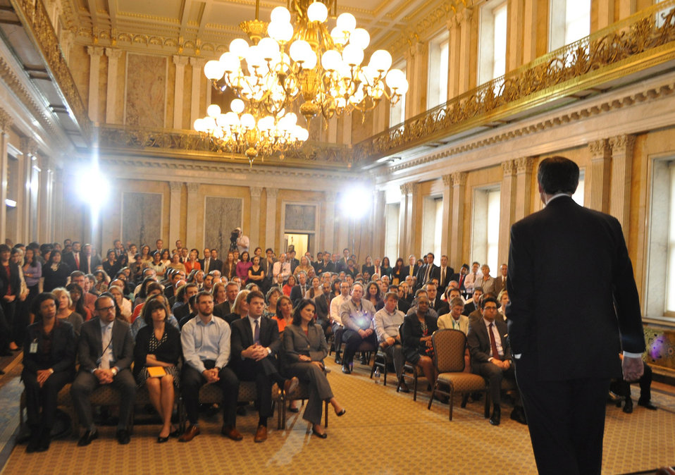 Secretary Lew welcomes employees back to work