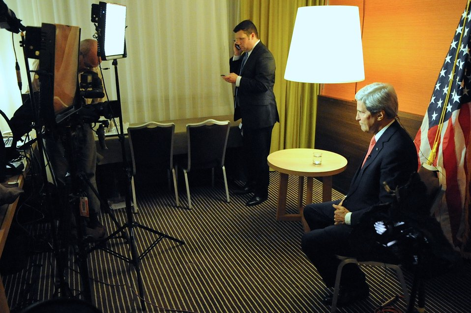 Secretary Kerry Prepares for Interviews in Geneva, Switzerland