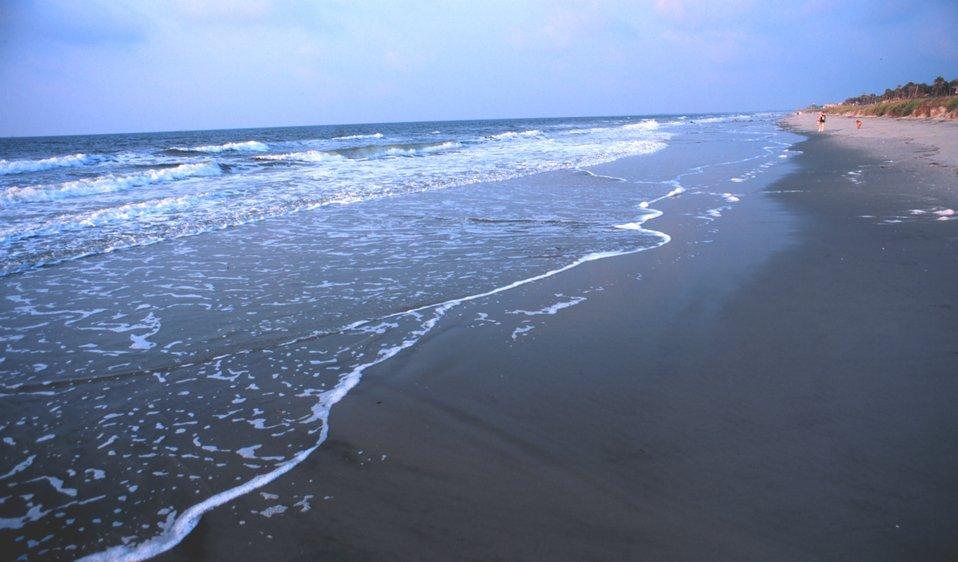 Gentle surf on the Folly Island Beach