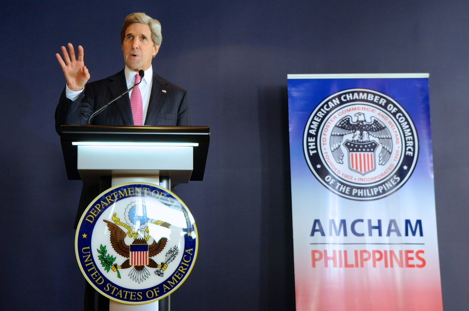 Secretary Kerry Addresses the American Chamber of Commerce Members in Manila