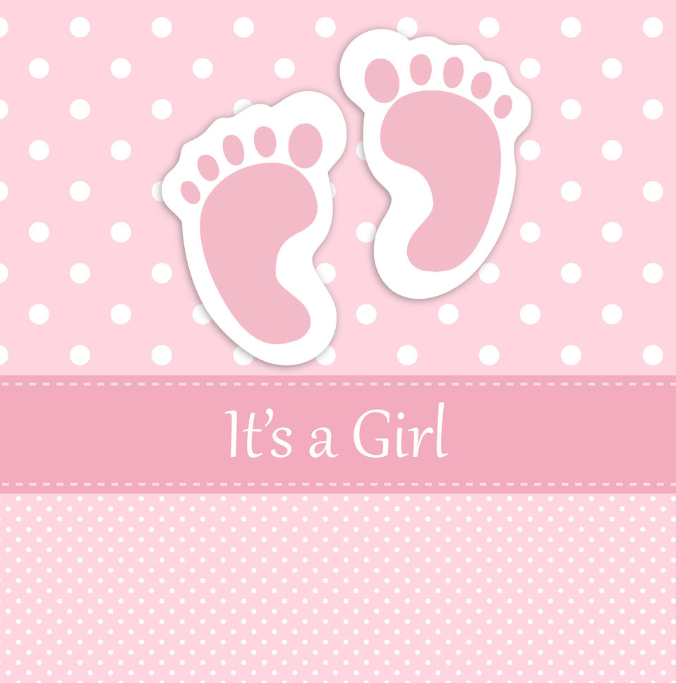 Baby girl footprints card