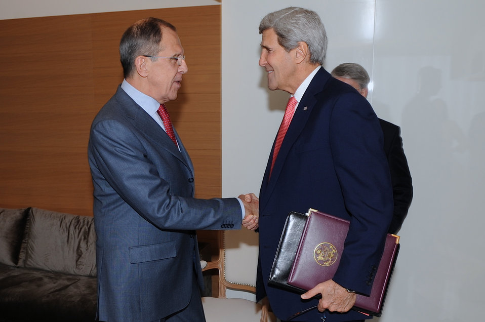 Secretary Kerry Shakes Hands With Russian Foreign Minister Lavrov in Geneva