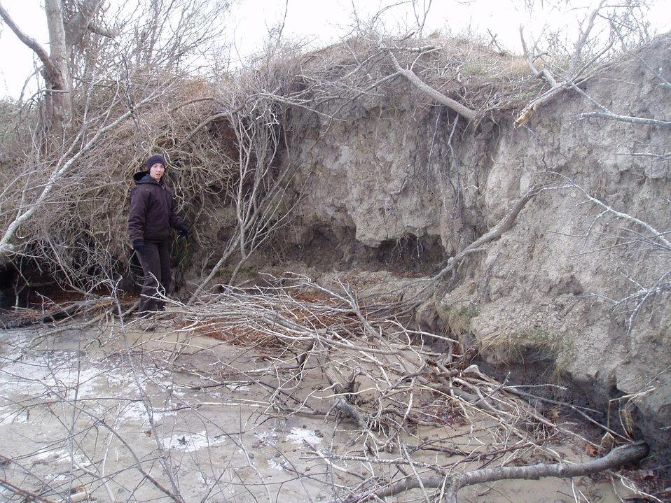 Erosion along the berm at Lake Tecumseh