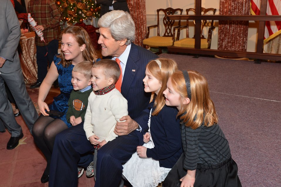 Secretary Kerry Hosts the Unaccompanied Tour Families Holiday Reception