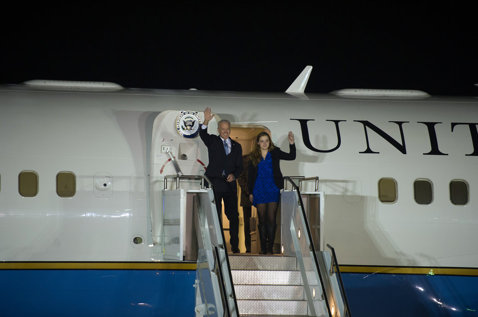 Vice President Biden Disembarks From Air Force Two Upon Arrival in the Republic of Korea
