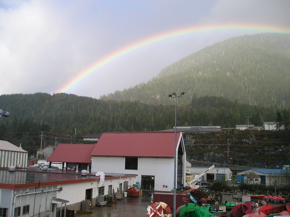 Rainbow and mist over the Coast Guard Base at Ketchikan.