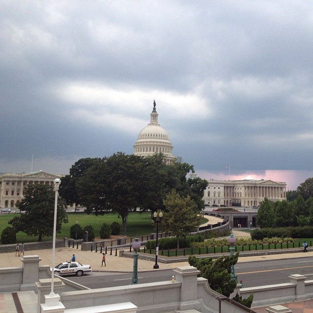 Afternoon thunderstorm approaching Capitol Hill. #dcstorms