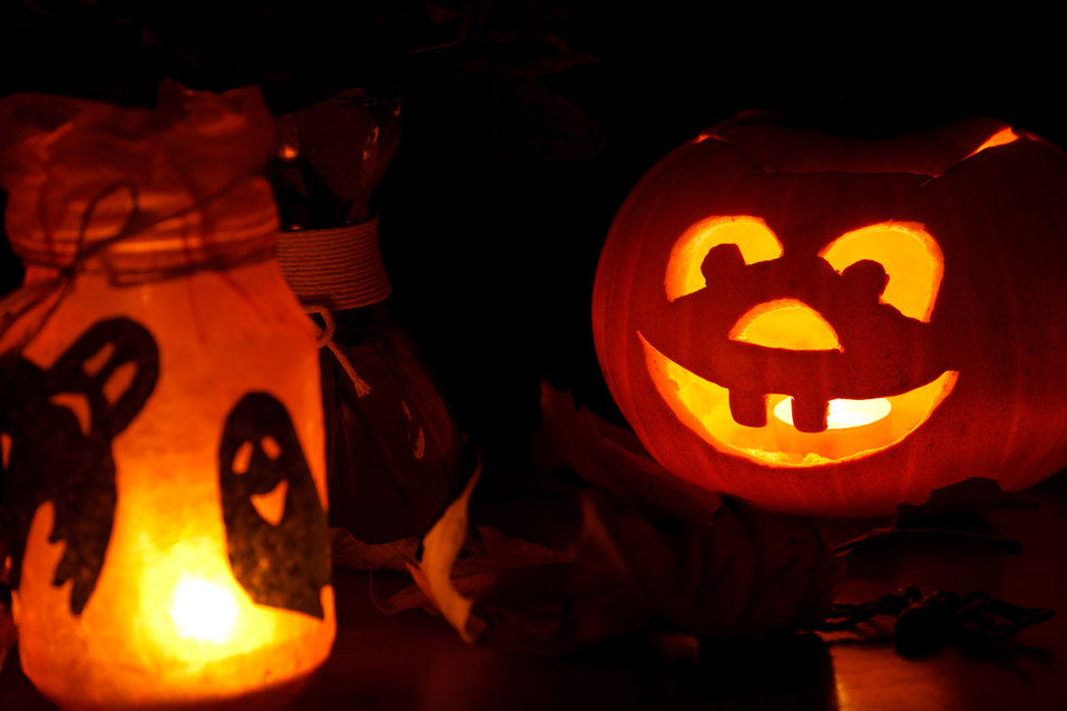 Halloween pumpkin and lights