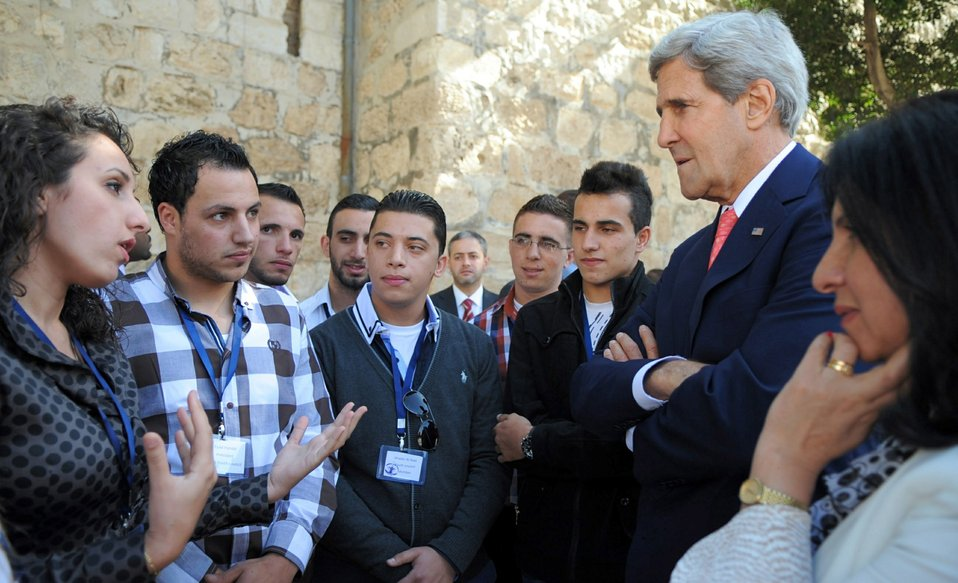 Secretary Kerry Speaks With Palestinian Youth in Bethlehem