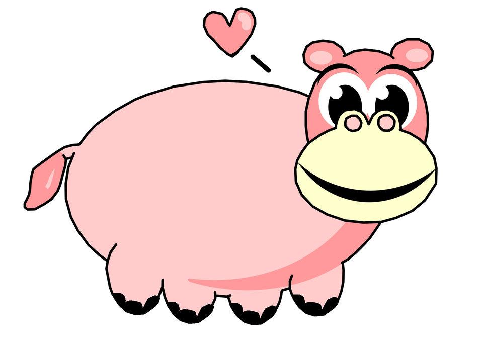 Pink hippo clip art