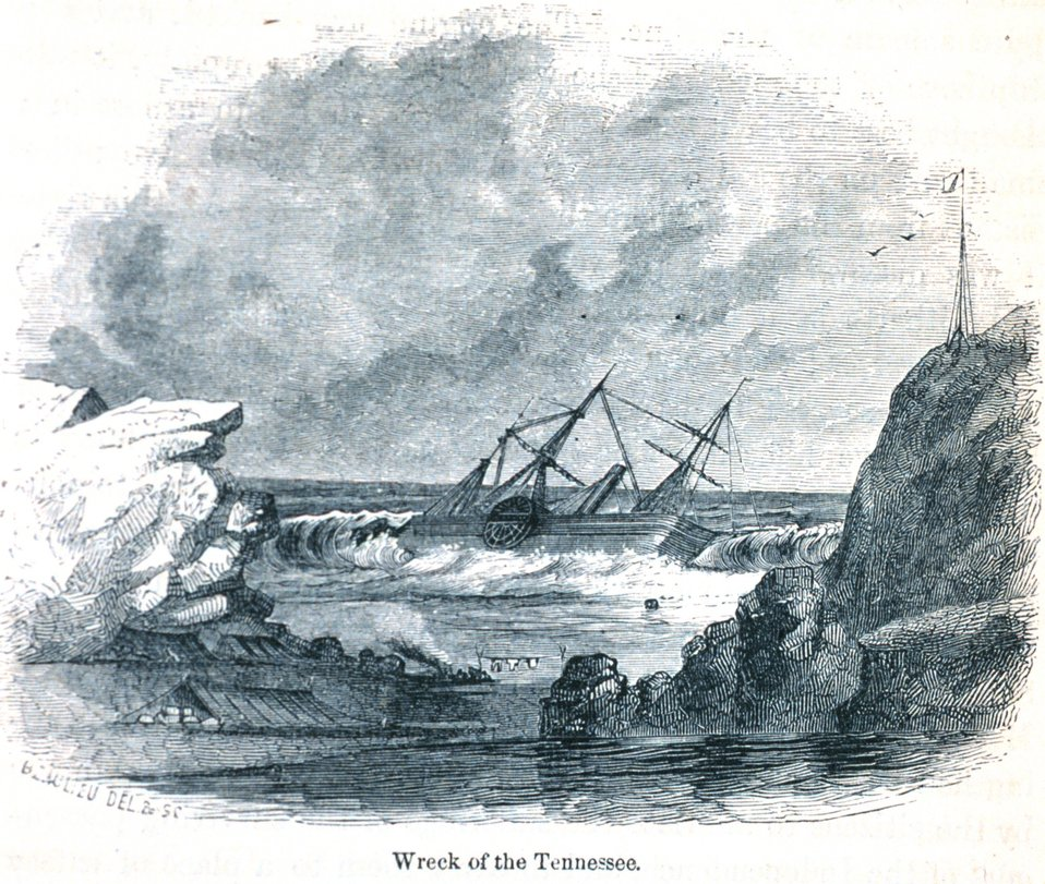 The wreck of the TENNESSEE on March 6th, 1853. In: 'The Annals of San Francisco'.  Frank Soule, John Gihon, and James Nesbit.  1855.  Page 435.  D. Appleton & Company, New York.  F869.S3.S7 1855.