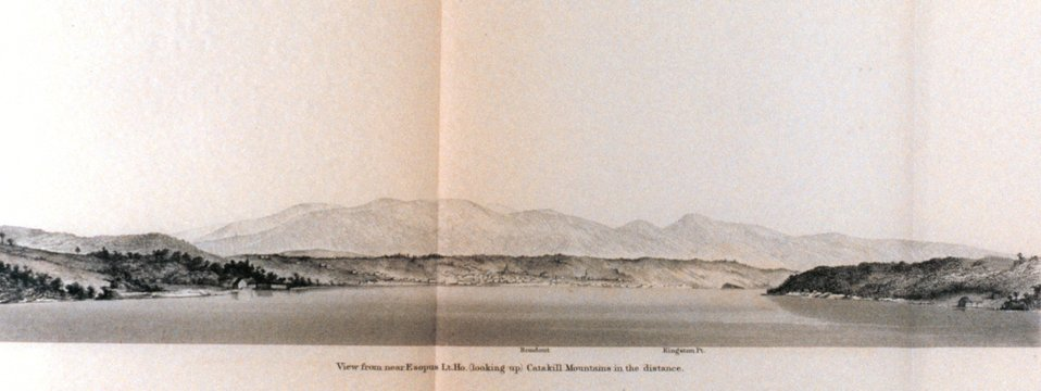 View from near Esopus Lt. House (Looking up.)  Catskill Mountains in the distance.  On the Hudson River.  In: Atlantic Local Coast Pilot Sub-Division 13 South Coast of Long Island New York Bay and Hudson River 1880.  P. 606.  Library Call Number VK981.A3