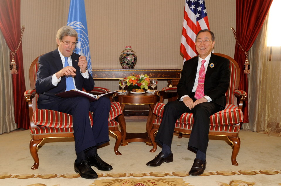 Secretary Kerry Meets With U.N. Secretary-General at Syria Donors' Conference