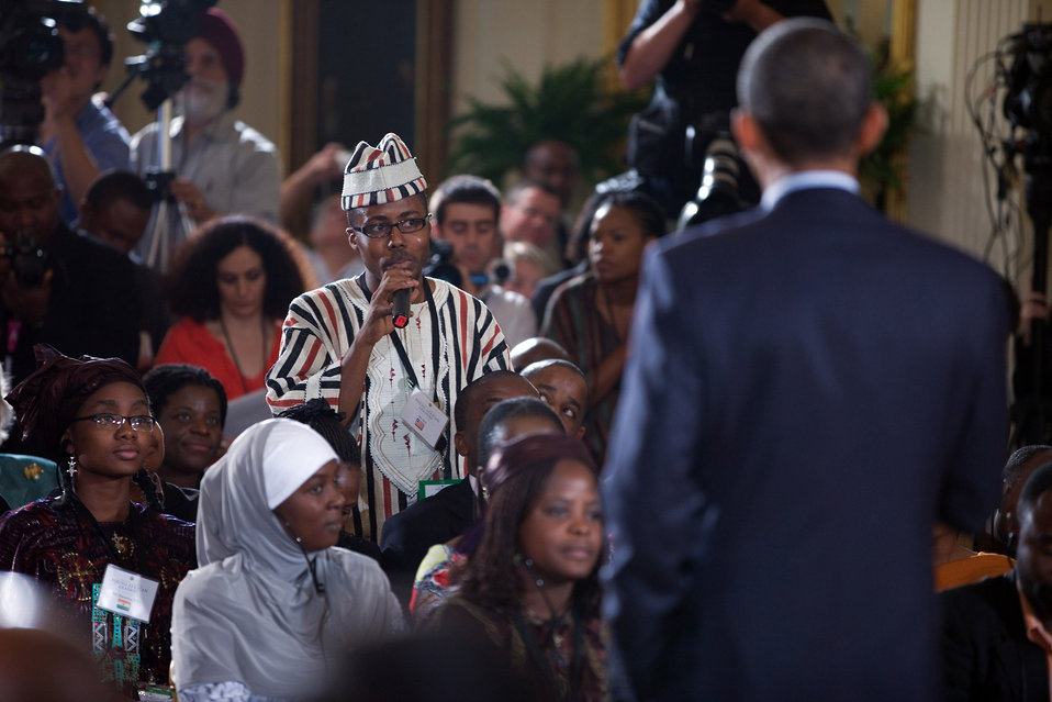 President Obama Listens to a Question from Bai Sama Gwenning Best from Liberia