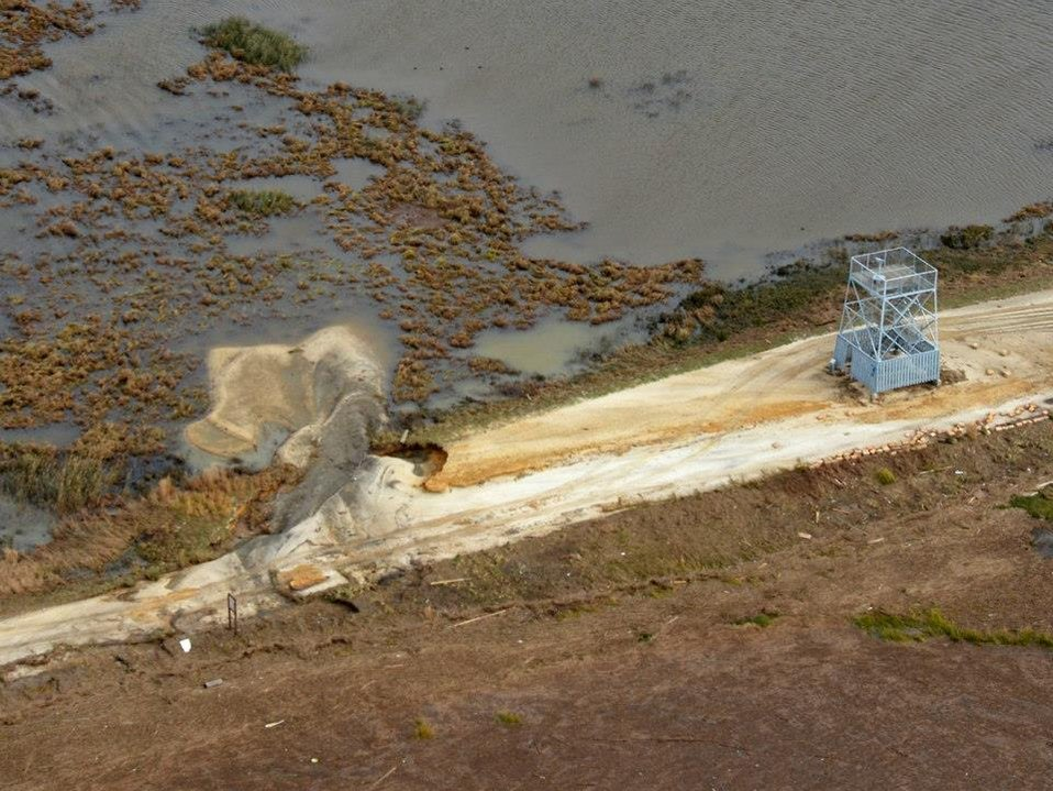 Aerial view of damage at Edwin B. Forsythe National Wildlife Refuge (NJ)