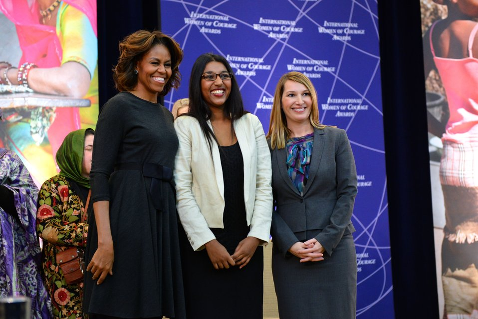 First Lady Michelle Obama and Deputy Secretary Higginbottom With 2014 IWOC Awardee Roshika Deo of Fiji